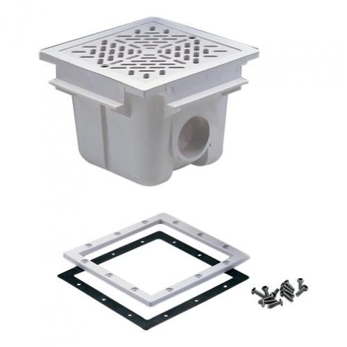 Слив донный, квадратный 210 х 210 мм. с решеткой, ABS-пластик