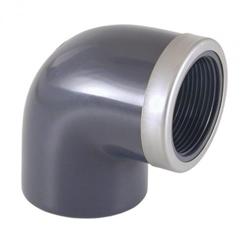 Отвод 90º (клеевой-внутренняя резьба, усиленная кольцом)
