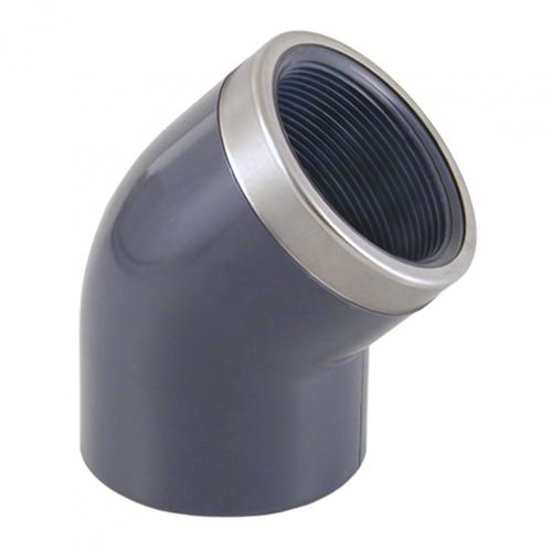 Отвод 45º (клеевой-внутренняя резьба, усиленная кольцом)